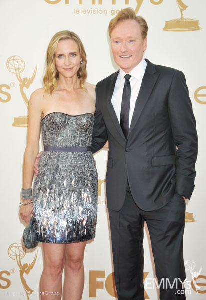 (L-R) Liza Powel, Conan O'Brien arrive at the Academy of Television Arts & Sciences 63rd Primetime Emmy Awards at Nokia Theatre