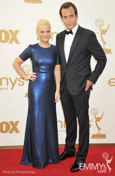 (L-R) Amy Poehler, Will Arnett arrive at the Academy of Television Arts & Sciences 63rd Primetime Emmy Awards at Nokia Theatre