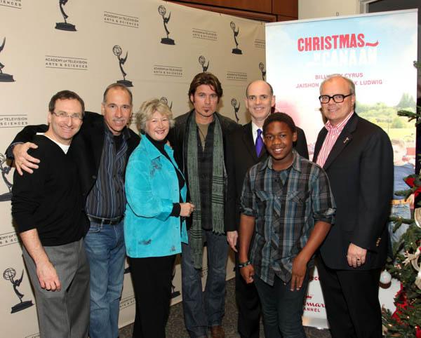 Producers Howard Braunstein, Dan Angel, Margaret Loesch, Cyrus, Hallmark's Bill Abbott, Fisher, Academy chief John Shaffner