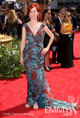 Actress Carrie Preston arrives at the 62nd Annual Primetime Emmy Awards held at the Nokia Theatre