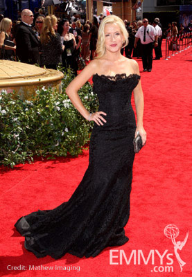 Angela Kinsey arrives at the 62nd Annual Primetime Emmy Awards held at the Nokia Theatre
