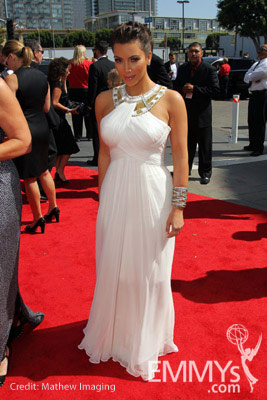 TV personality Kim Kardashian arrives at the 62nd Annual Primetime Emmy Awards held at the Nokia Theatre