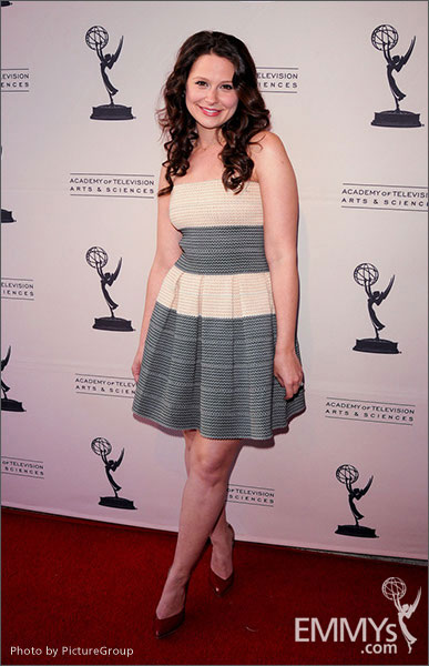 Katie Lowes arrives at Welcome to Shondaland