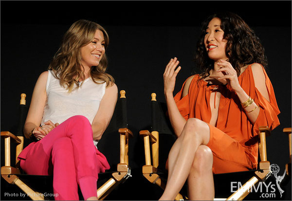 Ellen Pompeo and Sandra Oh participate in Welcome to Shondaland