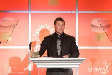 Rod Roddenberry accepting the Hall of Fame award for his late father, Gene Roddenberry.