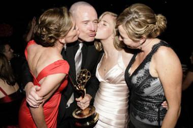 Actor Bryan Cranston, his wife Robin Dearden (L) daughter Robin Dearden and sister Amy Karalius