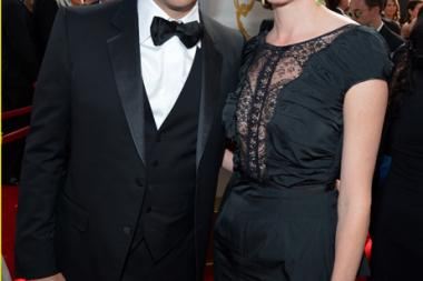 Jimmy Kimmel and Molly McNearney on the Red Carpet at the 65th Emmys