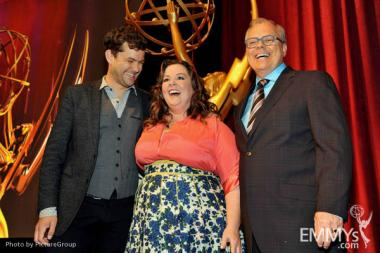 Joshua Jackson, Melissa McCarthy & John Shaffner at the 63rd Primetime Emmy Awards Nominations Ceremony