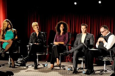 Panelists Laverne Cox, Christy Dees, Sherri Saum, Andrew Rannells and moderator Stephen Tropiano