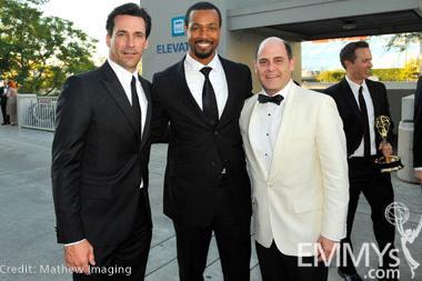 Actors Jon Hamm (L), Isaiah Mustafa and producer Matthew Weiner attend Governor's Ball