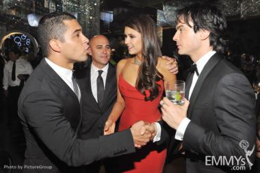 (L-R) Wilmer Valderrama, Nina Dobrev and Ian Somerhalder attend the Governors Ball