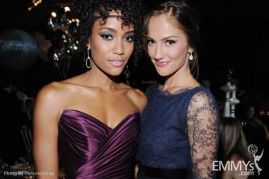 Annie Ilonzeh (L) and Minka Kelly arrive at the Governors Ball