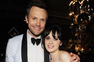 Joel McHale (L) and Zooey Deschanel attend the Governors Ball