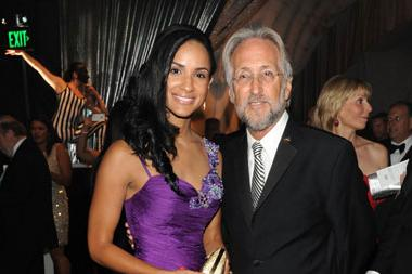 Sabrina Perez (L) and President of the National Academy of Recording Arts and Sciences Neil Portnow