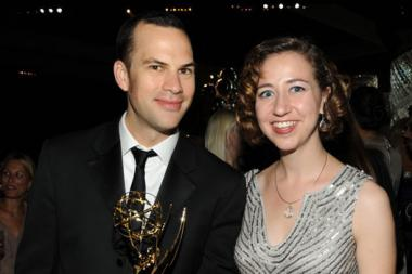 Writer Rich Blomquist (L) and Kristen Schaal attend the Governors Ball