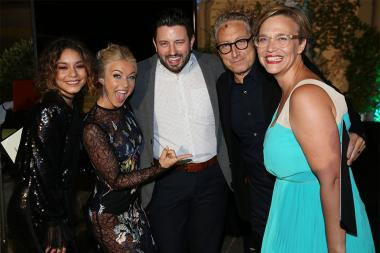 Vanessa Hudgens, Julianne Hough, Justin Huff, Bernard Telsey, and Tiffany Little at the Casting and Music Nominee Receptions, September 8, 2016 at the Montage in Beverly Hills, California.
