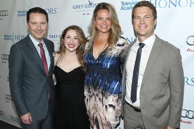 Conde Nast content EVP Michael Klein, Screw You Cancer star Caitlin Brodnick, series producer Cathryne Czubek and Conde Nast supervising producer Grant Jones arrive for the Seventh Annual Television Academy Honors in Beverly Hills, California.