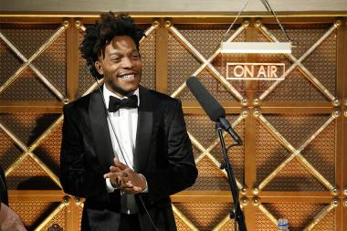 Jermaine Fowler on stage at the 2017 Primetime Emmys.