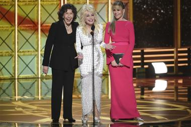 Lily Tomlin, from left, Dolly Parton, Jane Fonda on stage at the 2017 Primetime Emmys.