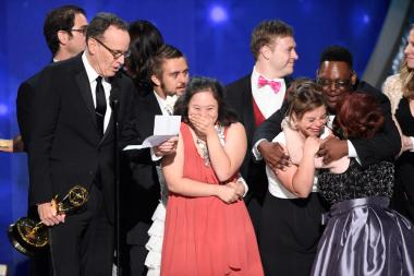 "The team and cast from ""Born This Way"" accept the award for outstanding unstructured reality program during night two of the Television Academy's 2016 Creative Arts Emmys."