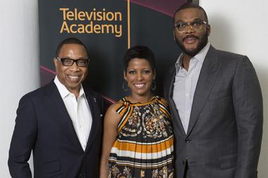 "Television Academy Chairman and CEO Hayma Washington with Tamron Hall and Tyler Perry at the Television Academy's first member event in Atlanta, ""A Conversation with Tyler Perry,"" at the Woodruff Arts Center on Thursday, May 4, 2017."