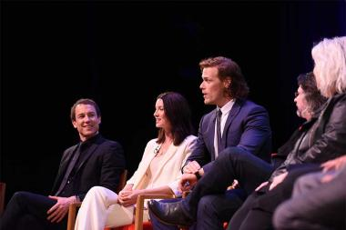 Moderator Michelle Miller, actors Tobias Menzies, Catriona Balfe, and Sam Heughan, showrunner Ronald D. Moore, and costume designer Terry Dresbach on the panel at the Outlander: From Scotland to Paris event, April 5, 2016, at the NYU Skirball Center for t