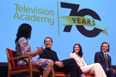 Moderator Michelle Miller speaks with actors Tobias Menzies, Catriona Balfe, and Sam Heughan on the panel at the Outlander: From Scotland to Paris event, April 5, 2016, at the NYU Skirball Center for the Performing Arts in New York City.