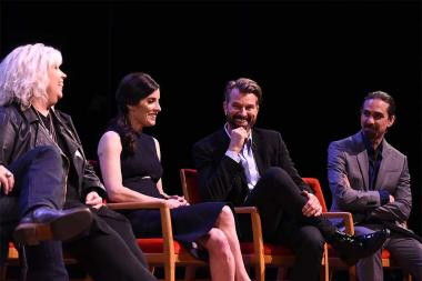 Costume designer Terry Dresbach, executive producer Maril Davis, production designer Jon Gary Steele, and composer Bear McCreary on the panel at the Outlander: From Scotland to Paris event, April 5, 2016, at the NYU Skirball Center for the Performing Arts