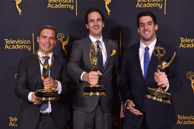 Alexander Loverde, Jeffrey Impey, and Brett Beaulieu-Jones at the 68th Engineering Emmy Awards, October 28, 2016 at Loews Hollywood Hotel in Los Angeles, California.