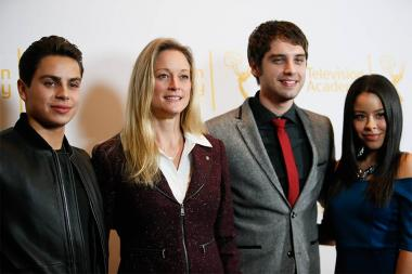 Jake T. Austin, Teri Polo, David Lambert and Cierra Ramirez on the red carpet at An Evening with The Fosters in Los Angeles, California.