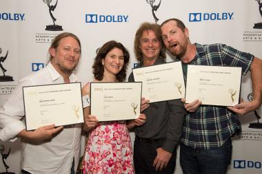 Benjamin Cook, Sue Cahill,, Jeffrey Wilhoit, and Brett Voss at the Sound and Sound Editors nominee reception September 10, 2015 in Los Angeles, California.