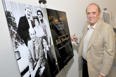 Bob Newhart signs a show poster at The Rise of the Cerebral Comedy: A Conversation with Bob Newhart, presented Tuesday, Aug. 8, 2017, at the Television Academy's Wolf Theater at the Saban Media Center in North Hollywood, California.