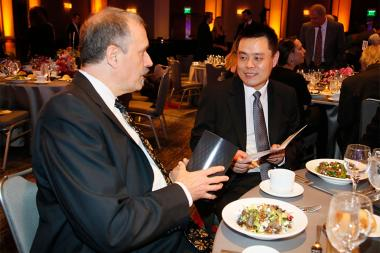 Alan Bovik and Zhou Wang at the 2015 Engineering Emmys at the Loews Hotel in Los Angeles, October 28, 2015.