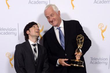 Show host Josh Brener and winner of the Charles F. Jenkins Lifetime Achievement Award Garrett Brown at the 2015 Engineering Emmys at the Loews Hotel in Los Angeles, October 28, 2015.
