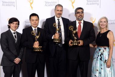 Josh Brener, Zhou Wang, Alan Bovik, Hamid Sheikh, and Wendy Aylesworth at the 2015 Engineering Emmys at the Loews Hotel in Los Angeles, October 28, 2015.
