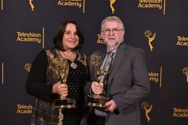 Candace and Russell Saunders at the 68th Engineering Emmy Awards, October 28, 2016 at Loews Hollywood Hotel in Los Angeles, California.