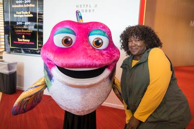 A guest makes a new friend at It's Not Just A Cartoon! Animation Day, presented by the Television Academy for its members and their families on Saturday, November 11, 2017 at the Saban Media Center in North Hollywood, California.