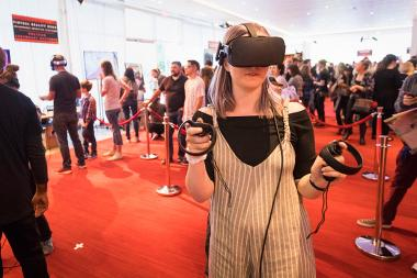 A young guest tries out virtual reality at It's Not Just A Cartoon! Animation Day, presented by the Television Academy for its members and their families on Saturday, November 11, 2017 at the Saban Media Center in North Hollywood, California.