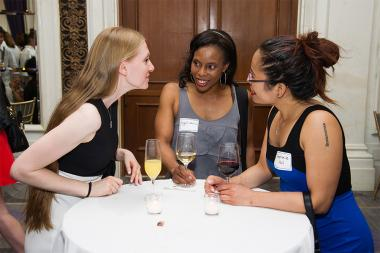 Cheryl Lewis and Stephanie Hui and friend at Networking Night Out NYC! at the St. Regis Hotel in New York City, June 12, 2015.