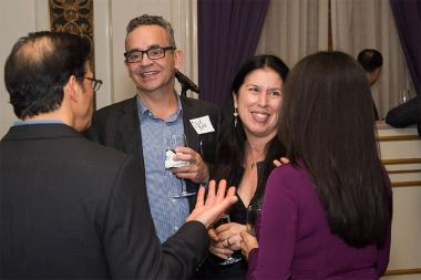 David Rieth and Christine Delfico and friends at the New York Networking Night Out, November 13, 2015 at the St. Regis in New York City.