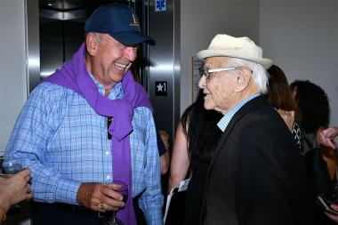 Dick Robertson and Norman Lear at The Power of TV: A Conversation with Norman Lear and One Day at a Time, presented by the Television Academy Foundation and Netflix in celebration of the Foundation's 20th Anniversary of THE INTERVIEWS: An Oral History Pro