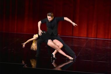 "Derek Hough and Ekaterina Fedosova perform at ""Whose Dance Is It Anyway?"" February 16, 2017, at the Saban Media Center in North Nollywood, California."