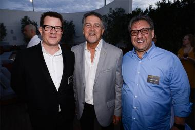 Television Academy governor Eric Anderson with Jon Teschner and Frank Scherma at the Motion and Title Design nominee reception September 11, 2015 in Los Angeles, California.