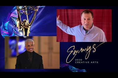Jeremy Pope presents the award for Outstanding Lighting Design Lighting Direction for a Variety Special to Robert Barnhart for Super Bowl LIV Halftime Show Starring Jennifer Lopez And Shakira at Night Two of the Creative Arts Emmys.