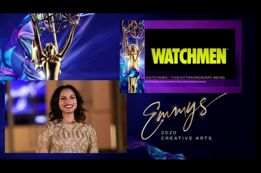Monica Raymund presents the Emmy for Outstanding Cinematography For A Limited Series Or Movie to Watchmen during Night Three of the 2020 Creative Arts Emmy Awards.