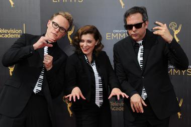Jack Dolgen, Rachel Bloom, and Adam Schlesinger arrive on the red carpet at the 2016 Creative Arts Emmys.