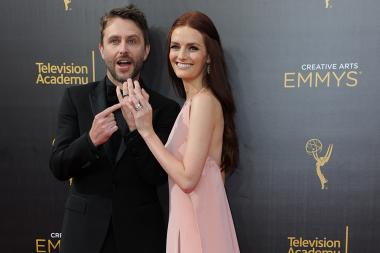 Chris Hardwick and Lydia Hearst arrive on the red carpet for the 2016 Creative Arts Emmys.