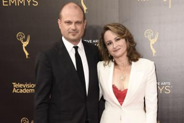 Brad Simpson and Nina Jacobson on the red carpet at the 2016 Creative Arts Emmys.