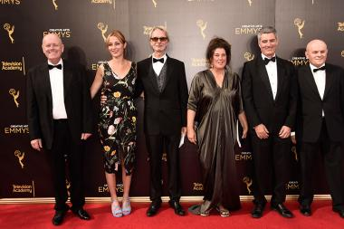 The Downton Abbey Art Design and Sound team on the red carpet at the 2016 Creative Arts Emmys.
