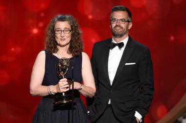 Allison Jones and Ben Harris accept their award for Veep at the 2016 Creative Arts Emmys.